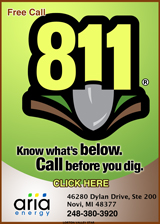 Free Call 811 before you dig message from Aria Energy.